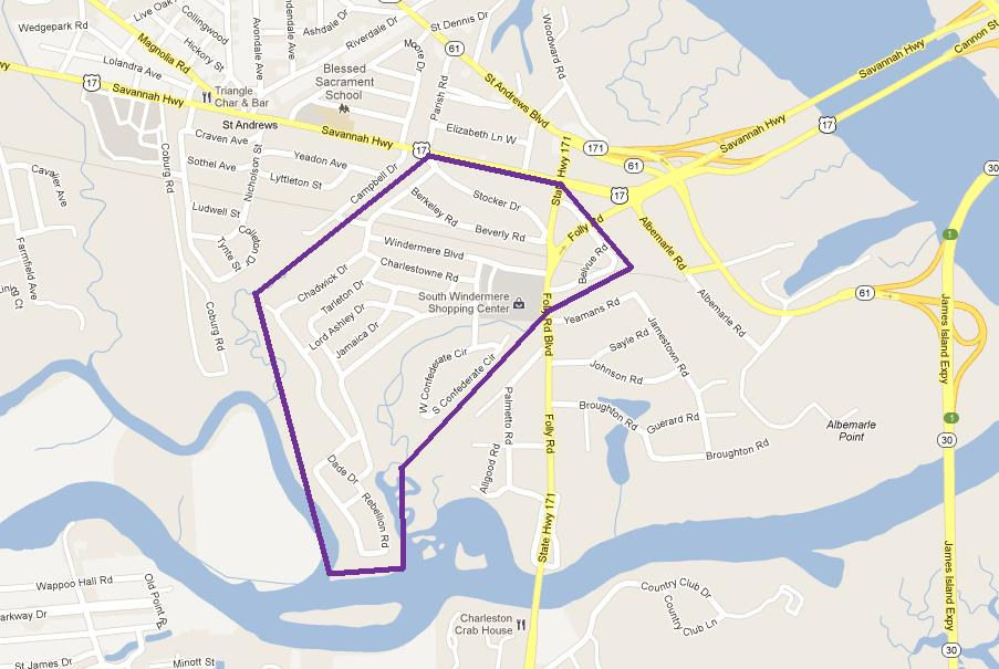 Windermere & South Windermere Neighborhood Map - A Live/Work/Play neighborhood near Charleston, SC - Real Deal with Neil