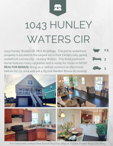 Realtor Bonus on 1043 Hunley Waters Cir