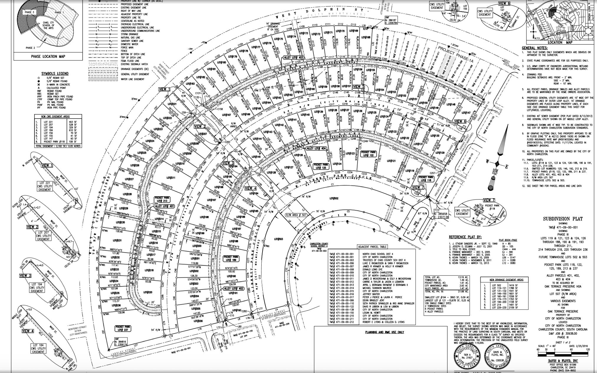 Oak Terrace Preserve Phase 3 Lot Plat Map