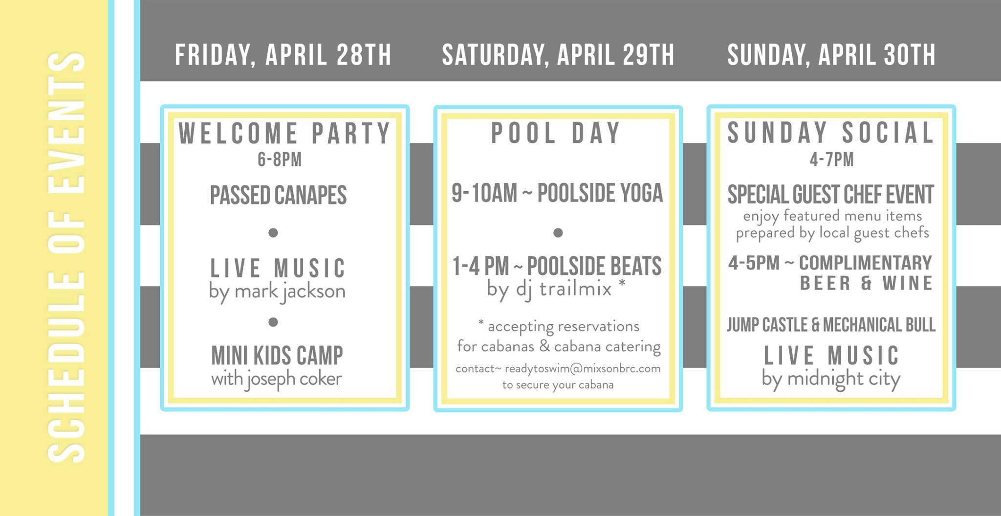 Mixson Member weekend schedule of events