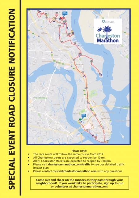 Charleston Marathon 2018 Park Circle Road Closures