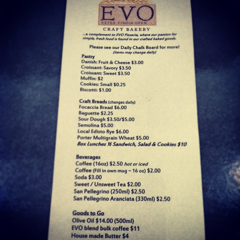 EVO Craft Bakery - Park Circle - Menu - Real Deal with Neil