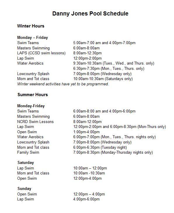 Danny Jones Pool Schedule - Park Circle, North Charleston - Real Deal wtih Neil