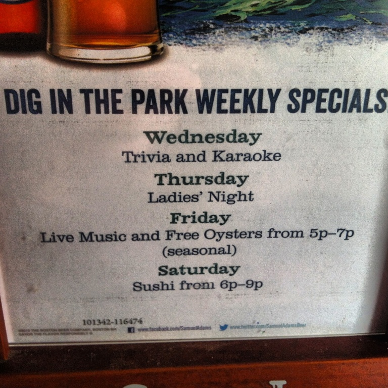 Dig in the Park - Park Circle - Weekly Specials - Real Deal with Neil
