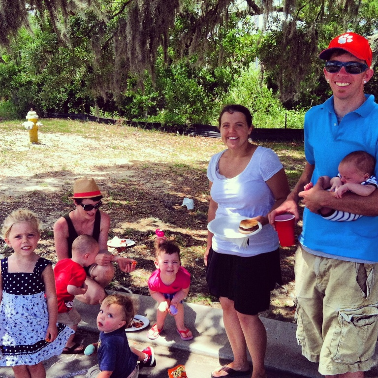 Hunley Waters Block Party - Families enjoying the Barbeque