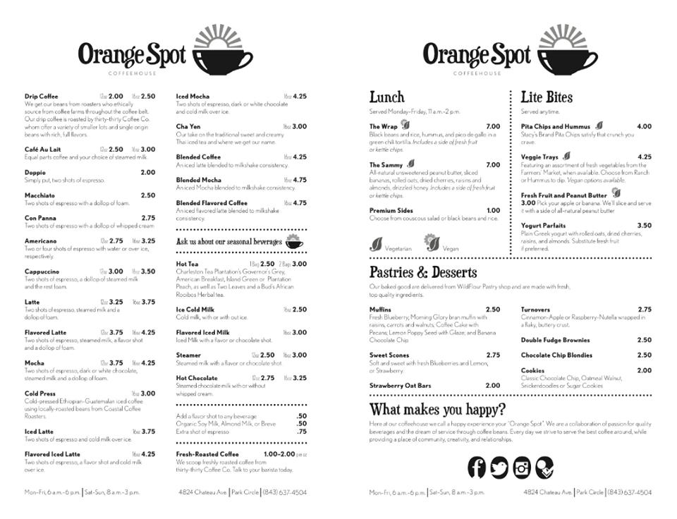 Orange Spot Coffeehouse Full Menu