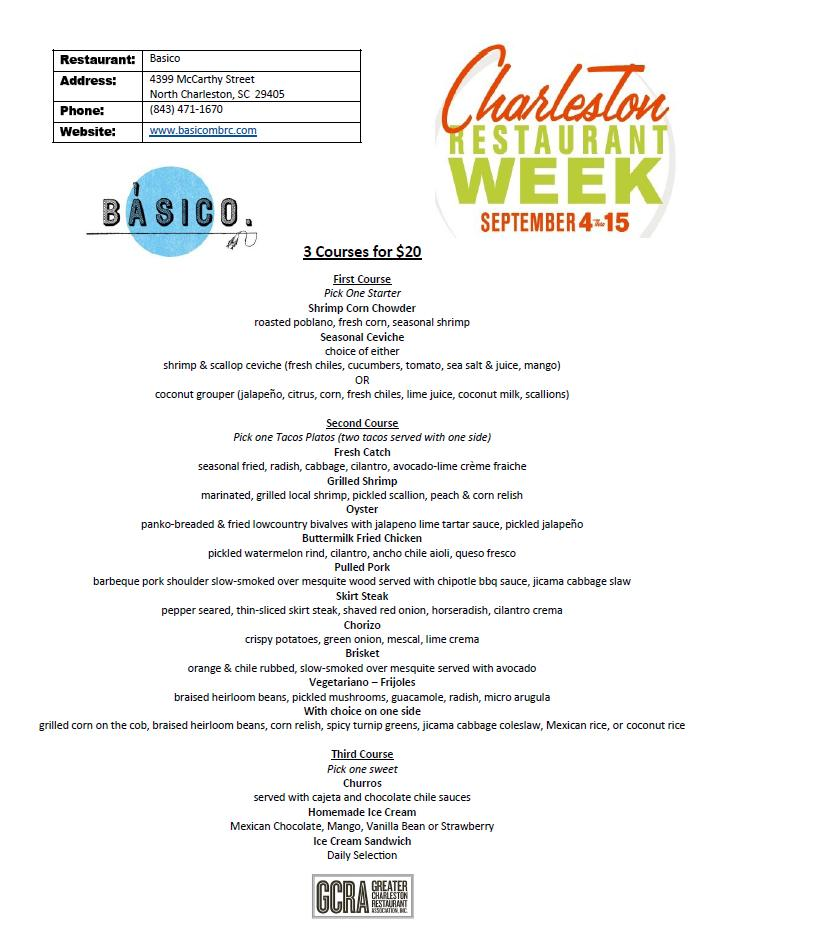 Basico Menu - Charleston Restaurant Week 2013