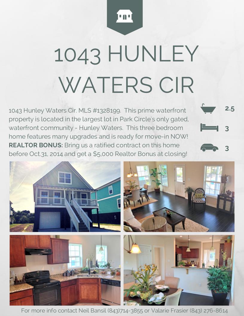 Realtor Bonus on 1043 Hunley Waters Cir