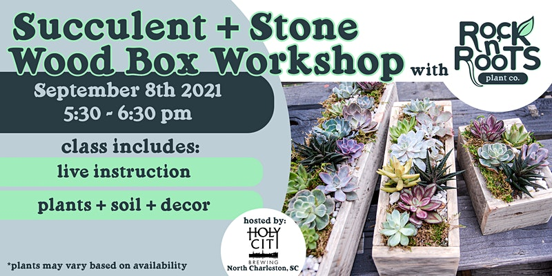 Succulent + Stone Wood Box Workshop at Holy City Brewing